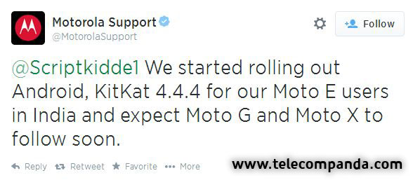 android 4.4.4 Update for moto e Confirmation Tweet